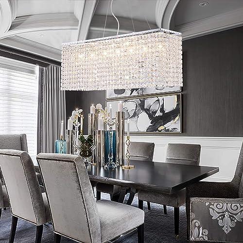 NOXARTE Modern Rectangular Chandelier Crystal Light LED Indoor Ceiling Hanging Lighting