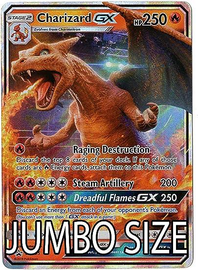 Amazon Com Jumbo Size Charizard Gx Sm195 Detective Pikachu Promo Card Holo Foil Toys Games