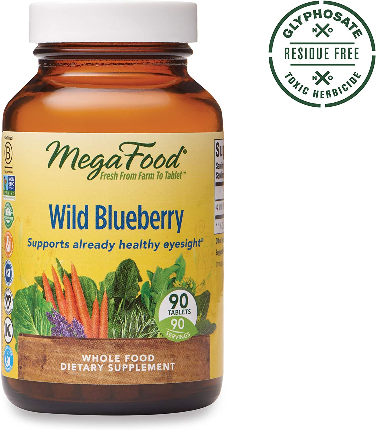 MegaFood, Wild Blueberry, Supports Healthy Eyesight, Chewable Whole Food Supplement, Gluten Free, Vegan, 90 Tablets (90 Servings) (FFP)