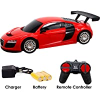 Zest 4 Toyz Rechargeable Remote Controlled 4 Channel Radio Control Audi Like Mini Racing Sports Car, Assorted Colors