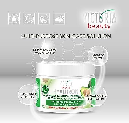 Victoria Beauty - Ácido hialurónico, crema antiarrugas, día y noche, crema de aceite de aguacate y Matrixyl con filtro UV para mayores de 30 años - 50 ml