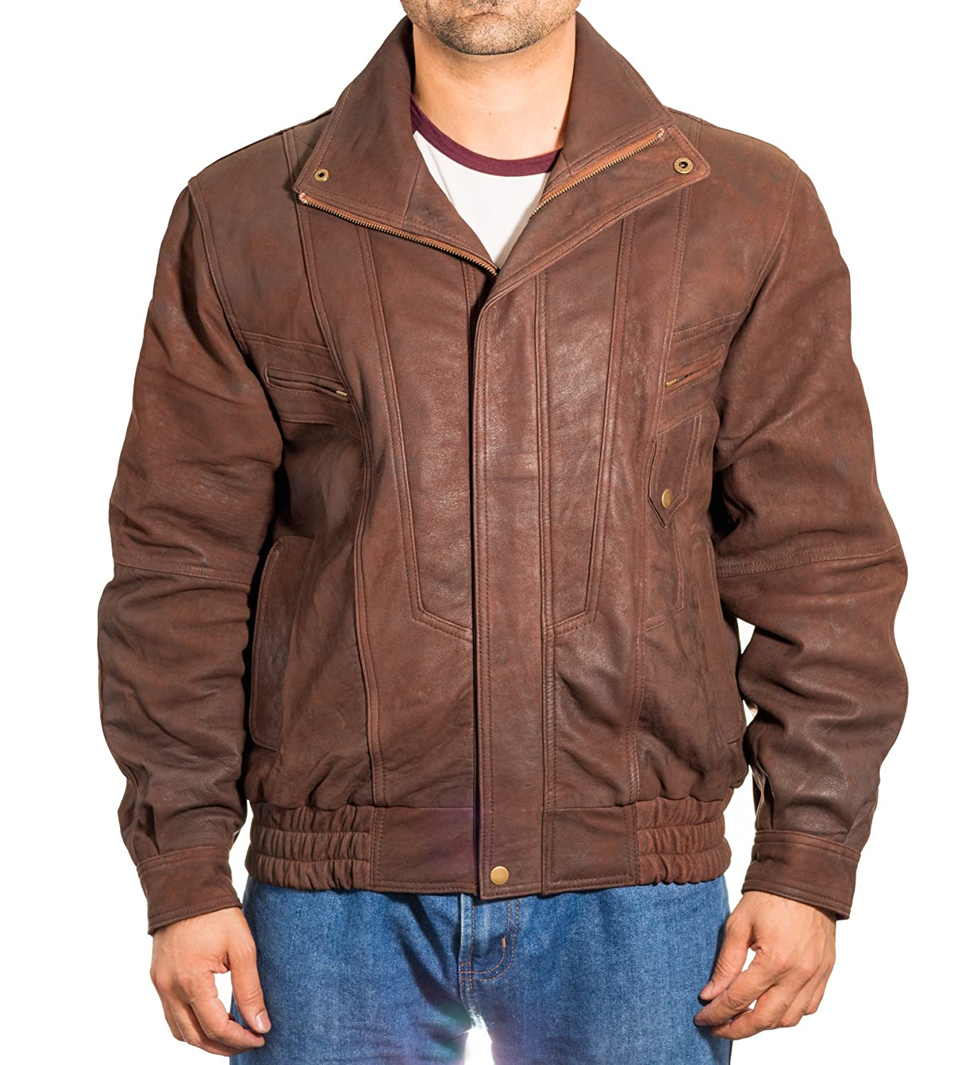 Mens Brown Antique Leather Vintage Classic Retro Blouson Bomber Jacket Coat