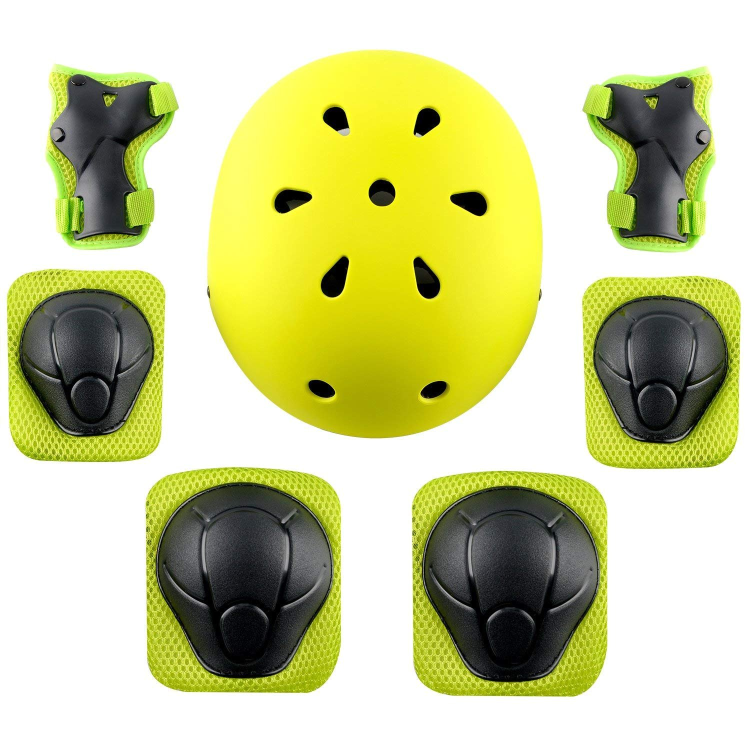 MAXZOLA Kids Protective Pads Knee Pads Elbow Pads Wrist Guards 3 In 1 Protective Gear Set (Green helmet+protective pads)