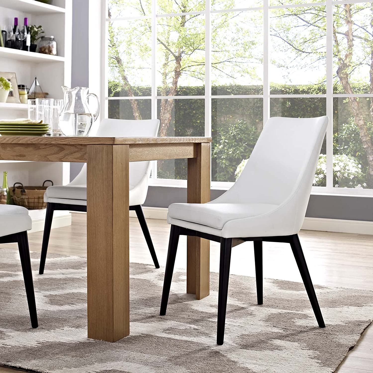 Modway Viscount Mid-Century Modern Faux Leather Upholstered Kitchen and Dining Room Chair in White