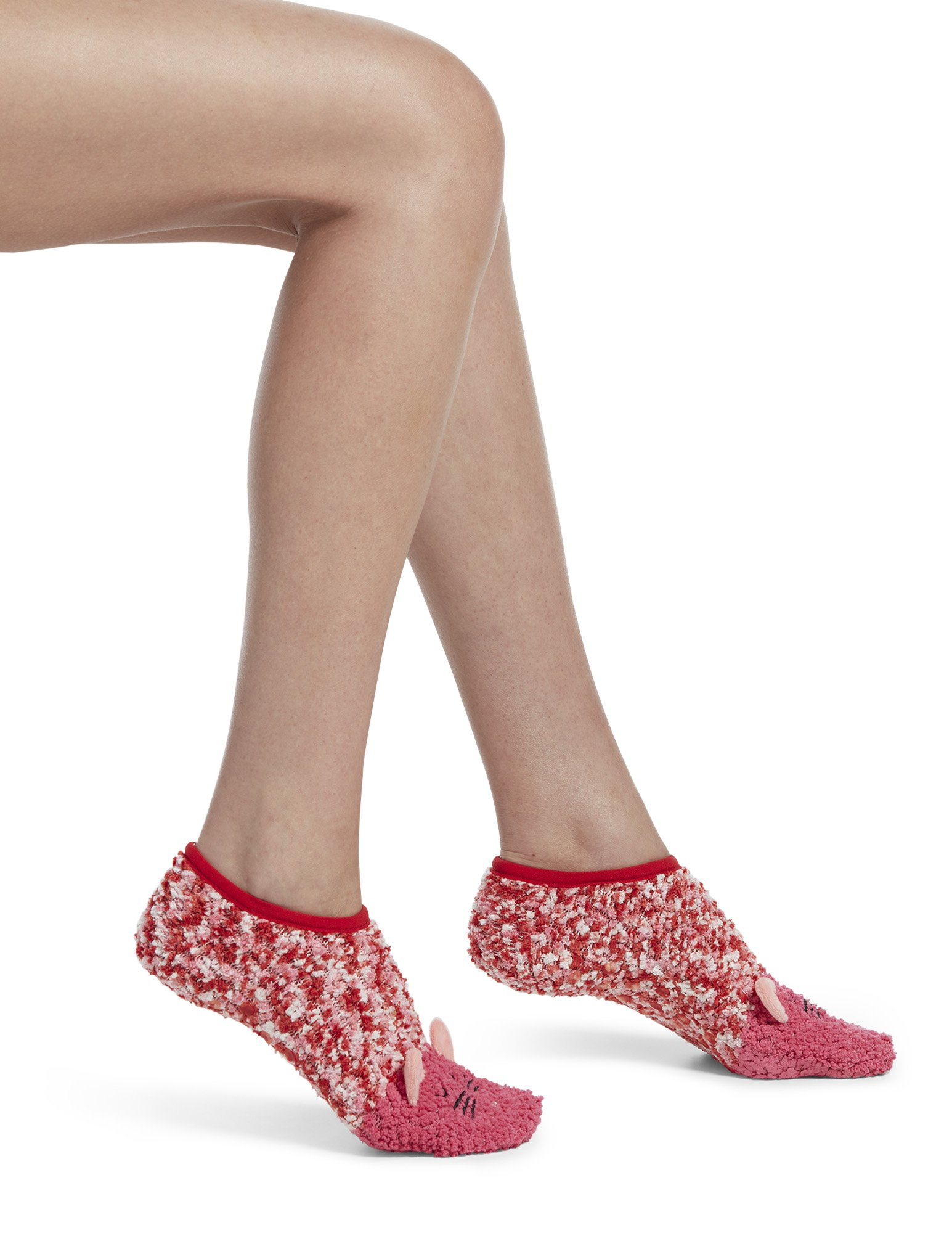 HUE Women's Critter Ultra-Soft No-Show Slipper Socks with Grippers, red hot, One Size