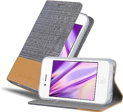 Cadorabo Coque pour Apple iPhone 4 / iPhone 4S en Gris Clair Marron - Housse Protection avec Fermoire Magnétique, Stand Horizontal et Fente Carte - ...