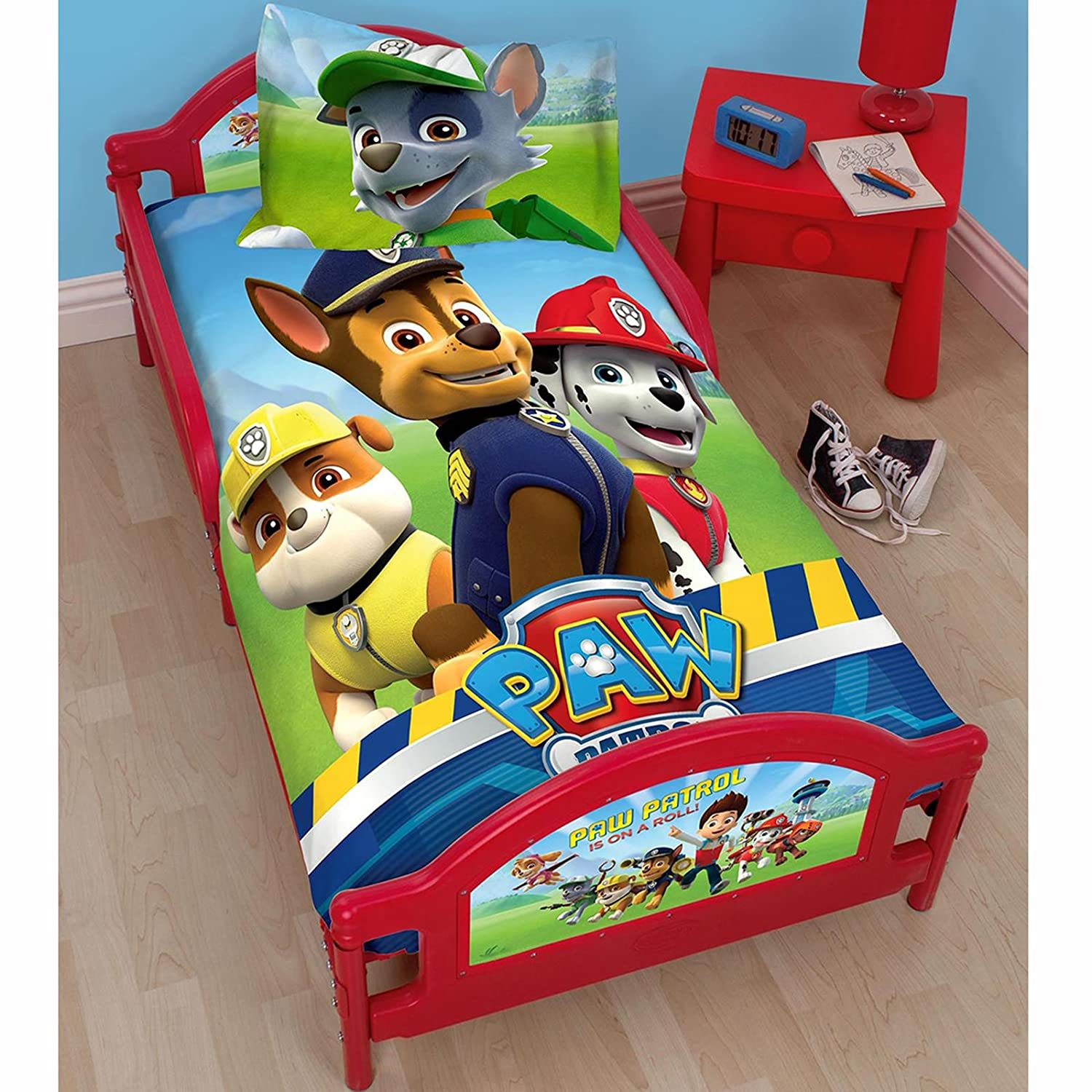 Paw Patrol Rescue Junior Toddler Bed Fully Sprung Mattress Amazoncouk Kitchen Home