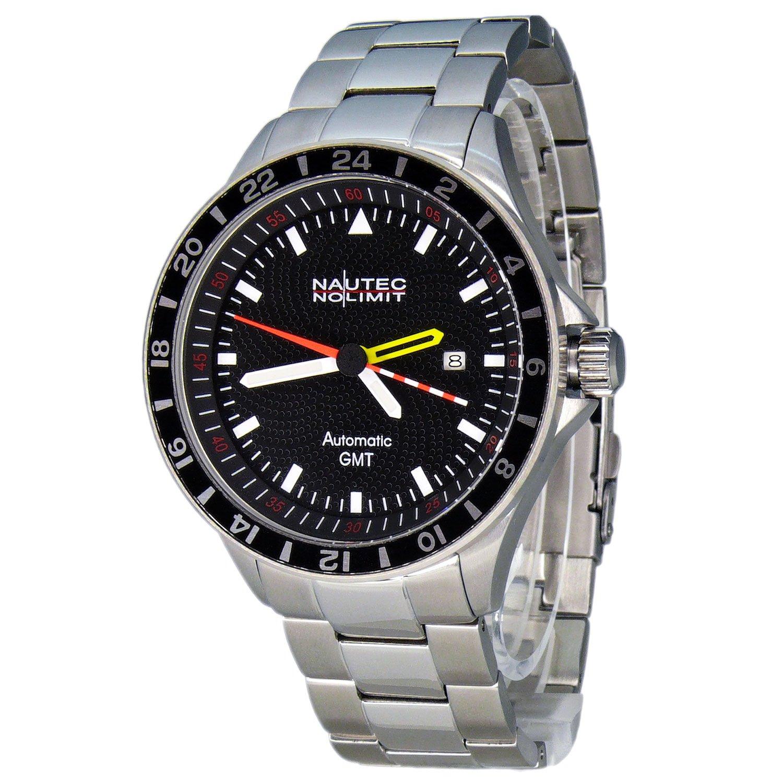 Nautec No Limit Mistral 2 - Reloj analógico de caballero automático con correa de acero inoxidable plateada - sumergible a 100 metros