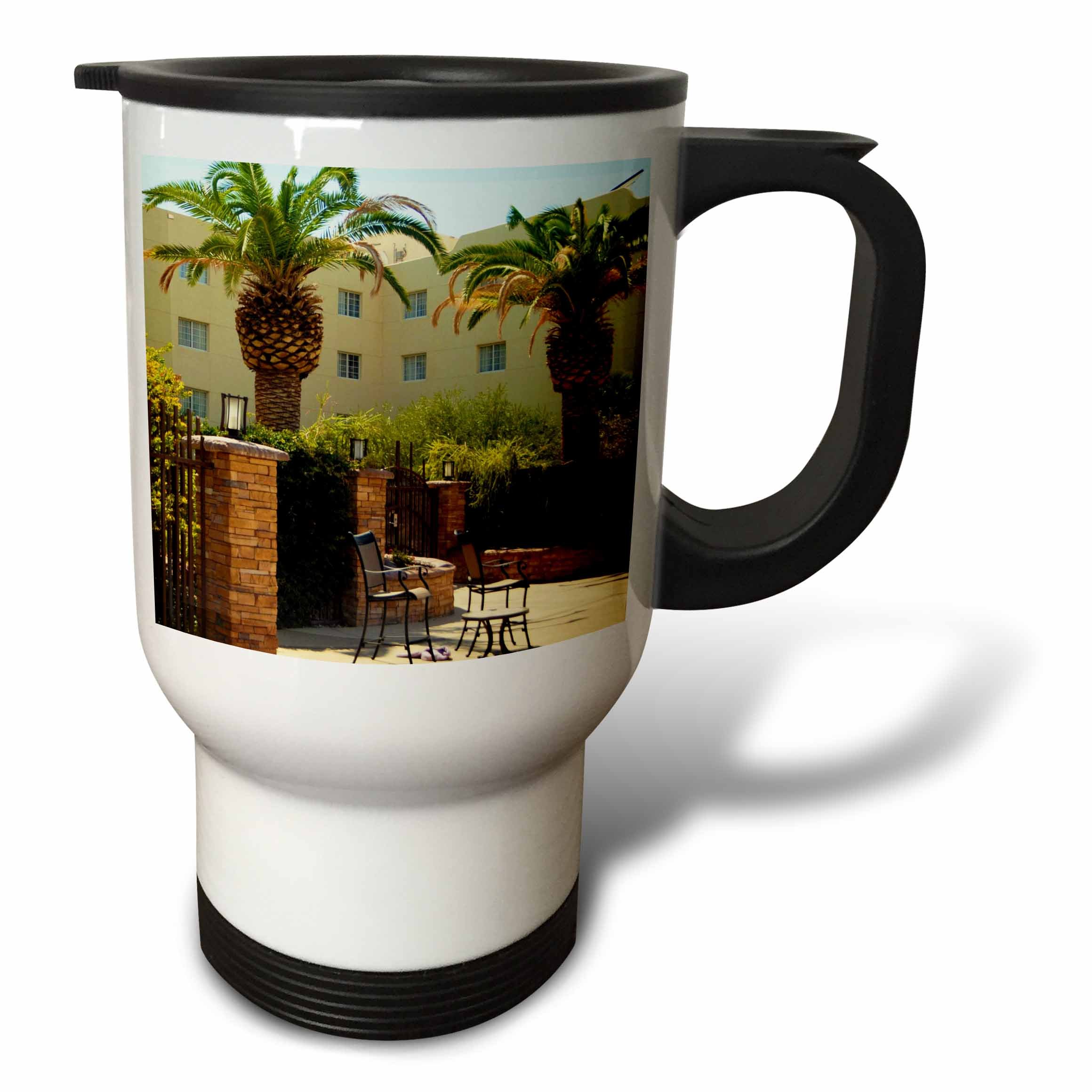 3dRose Jos Fauxtographee- Palms at Hotel - A hotel in Mesquite Nevada with palm trees and chairs - 14oz Stainless Steel Travel Mug (tm_273463_1)