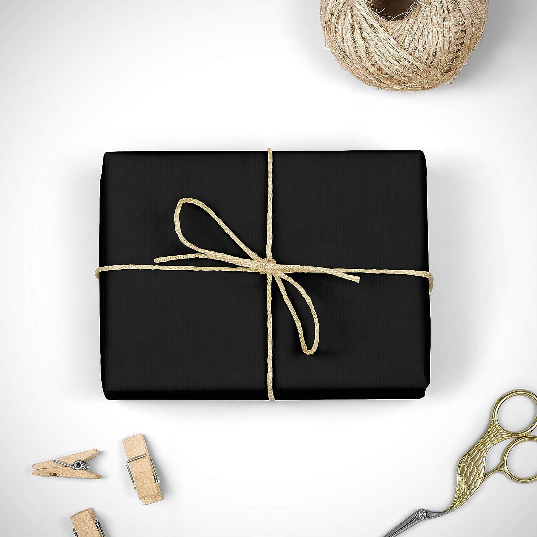 FP Fiesta Paper Verjurado estraza 1/ª calidad /• Bobina papel de regalo 31cm x 50m /• Ideal para: Tiendas Profesionales Embalaje Navidad Envolver regalos Decoraci/ón grande Rollo papel KRAFT NEGRO