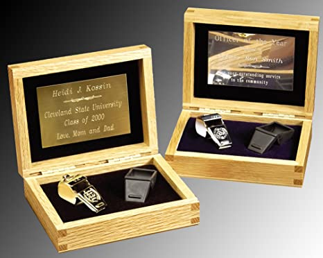 Police, Coach Whistle, Gift Set includes solid oak engraved gift box and Professional Quality