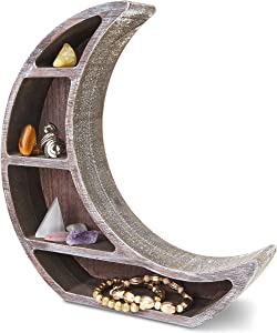 Wooden Shelf Display for Rustic Home Decor, Crescent Moon (10 x 10.2 x 2 in)