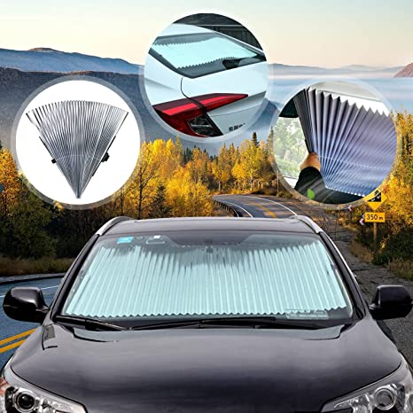 Fly5D Universal Fit Car Retractable Windshield Sunshade Auto Sun Cover Car Windshield  Sunshade Windshield Cover to 38d00a2bf04