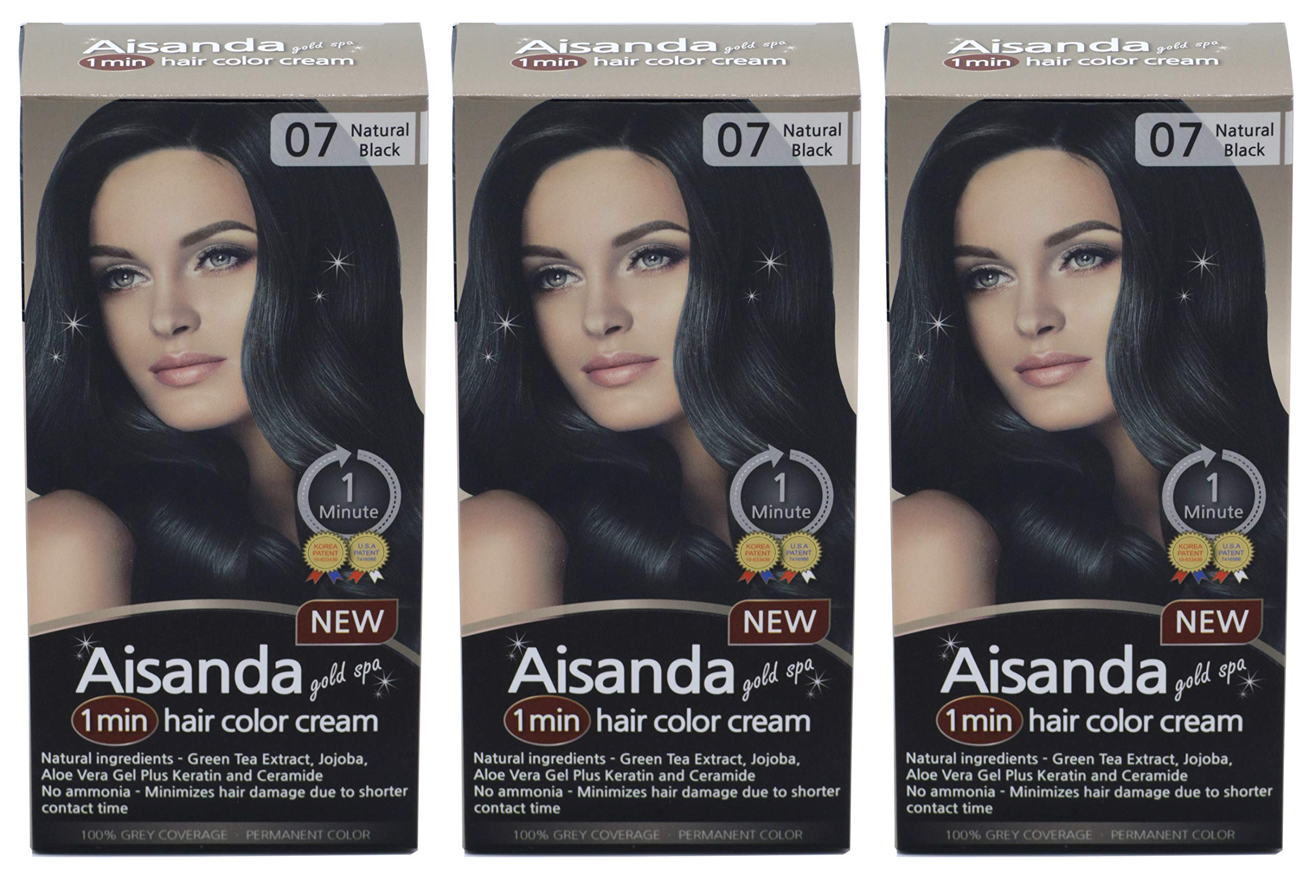 Aisanda/Assanta Gold Spa 1 Minute Hair Color Cream, Fast Natural Hair Dye For Women & Men With Herbal Ingredients, Ammonia Free (3Pack60g, Natural Black) by Assanta
