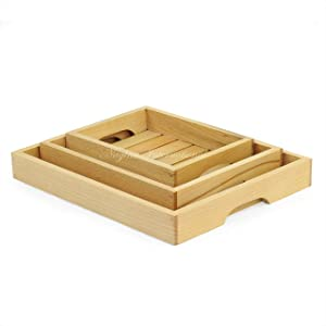 Nagina International Hand Crafted Premium Steamed Beech Wooden Tray | Stylish Kitchen Decor | Food Serving Tray | Dinner Cart