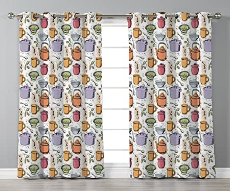 Thermal Insulated Blackout Grommet Window Curtains Kitchen Decor