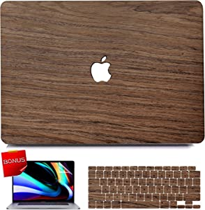 MacBook Pro 13 inch Case 2020 2019 2018 2017 2016 Release A2251 A2289 A2159 A1989 A170 8A1706, iPAPA Slim Wood Hard Case + Keyboard Cover + Screen Protector for Mac Pro 13 with Touch Bar & Touch ID