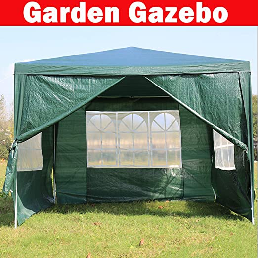 SiKy Carpa de jardín de 3 x 3 m Impermeable con 4 Paneles Laterales (Tres con Ventanas, uno con Cremallera), Color Verde: Amazon.es: Jardín