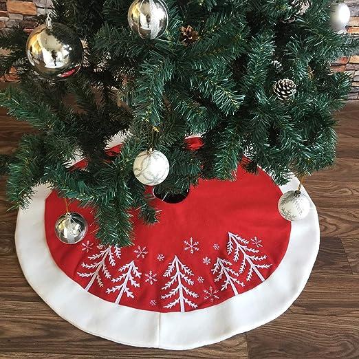 ShiyiUP Rojo Árbol de Navidad Falda de Decoración para Fiesta de ...