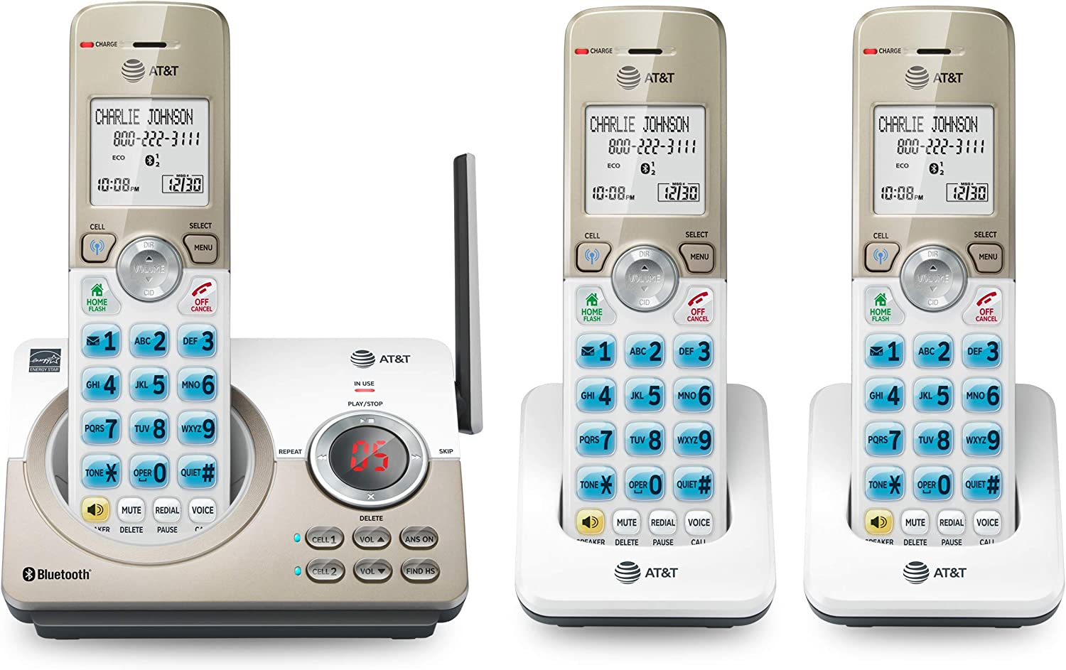 AT&T DL72319 DECT 6.0 3-Handset Cordless Phone for Home with Connect to Cell, Call Blocking, 1.8