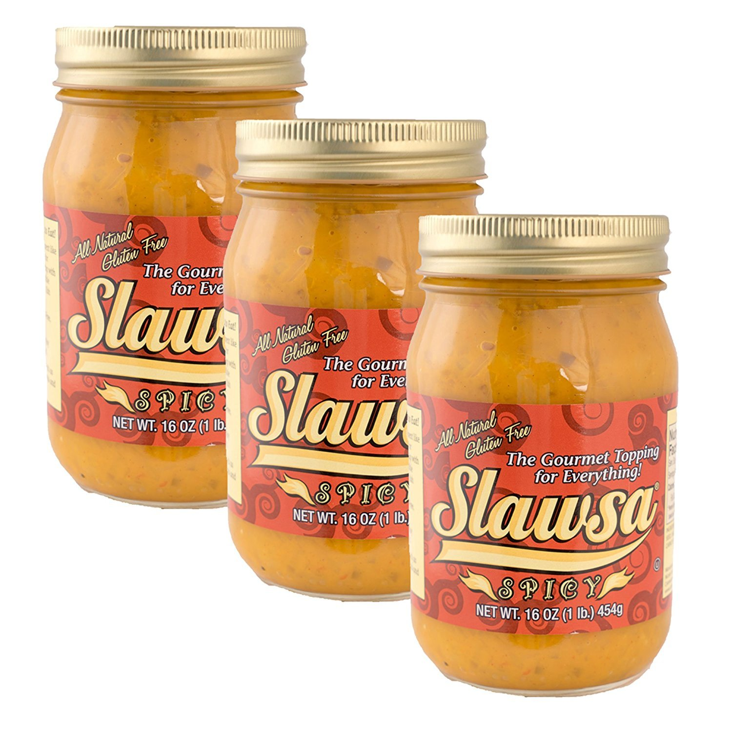 Slawsa All-Natural Gluten-Free The Gourmet Topping for Everything Certified Kosher Spicy Flavor 16 oz 3 pack