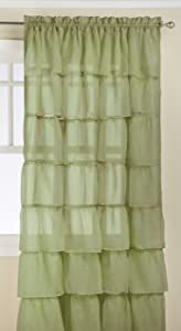 LORRAINE HOME FASHIONS Gypsy Shabby Chic Layered Ruffle Window Curtain Panel, 60 by 84-Inch, Green