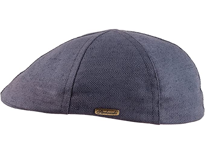 508e8c0204a28 Sterkowski Light Breathable Linen and Cotton Summer 6 Panel Duckbill Flat  Cap US 7 Grey