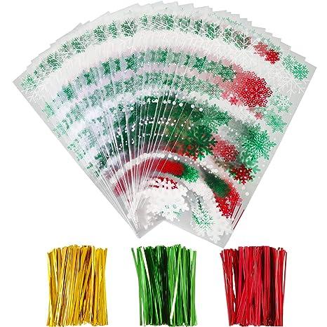 100 Piezas de Bolsas de Celofán de Navidad Halloween Bolsa de Tratamientos Transparente con 150 Piezas Precintos para Materiales de Fiesta (Estilo 1)