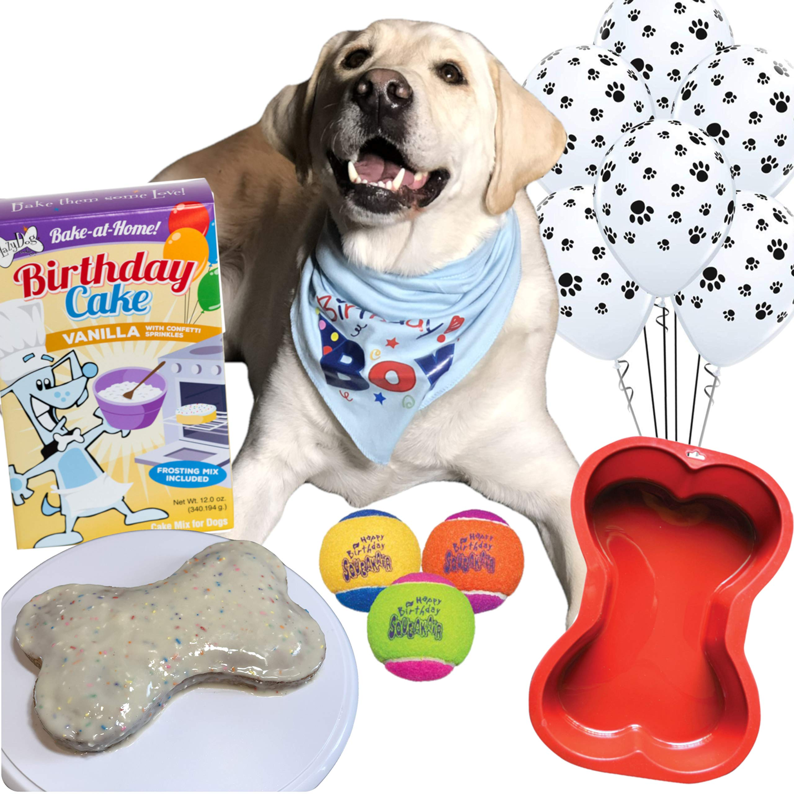 Dog Birthday Cake Mix and Frosting With Reusable Silicone Bone Cakes Baking Pan | 100% Natural Puppy Cake Mix | 6 Paw Print Balloons, Blue Happy Birthday Dog Bandana and 3 Toy Squeaky Birthday Balls by Giant Dog Paws (Image #1)