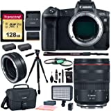 """Canon EOS R Mirrorless Camera 24-105mm Lens Bundle with Memory Cards, LED Light, 60"""" Tripod, Filter Kit and Accessory Bundle"""