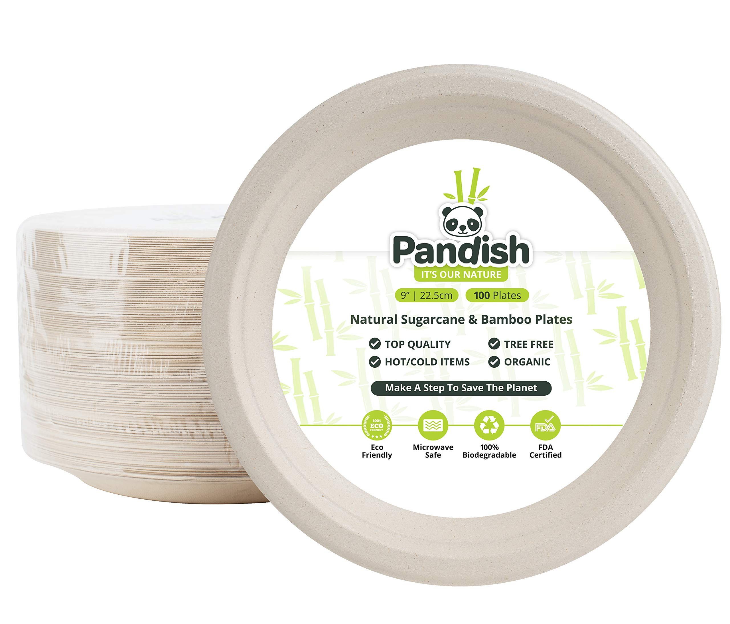 Eco Friendly Natural Plates | Special Mixture of Bamboo & Sugarcane | 100 COUNT | Premium Quality | Compostable & Biodegradable | Plastic & Paper Plates Alternative | FDA Approved | Pandish