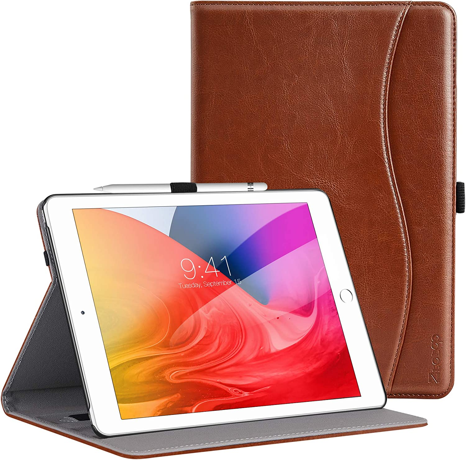 ZtotopCase for New iPad 8th Genaration/iPad 7th Generation 10.2 Inch 2020/2019, Premium PU Leather Folding Stand Cover for iPad 10.2 '' 2020 8th Gen/iPad 10.2'' 2019 7th Gen, Brown