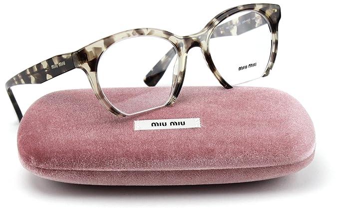 29cd329e4bb Amazon.com  Miu Miu MU 09NV Rasoir Style Eyeglasses UAF 1O1 Green Havana  Frame 50mm  Clothing