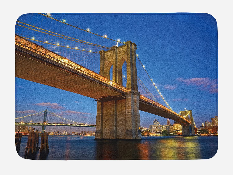 New York Bath Mat Brooklyn Bridge USA Non-Slip Plush Mat 29.5 X 17.5 Inches