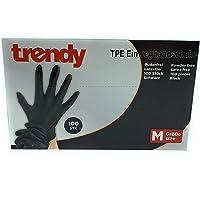 MC-Trend 100 stuks TPE wegwerphandschoenen zwart wegwerphandschoenen poedervrij latexvrij in dispenser doos