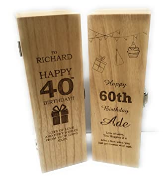 Caja personalizada para vino o champán - perfecto regalo de cumpleaños: Amazon.es: Hogar