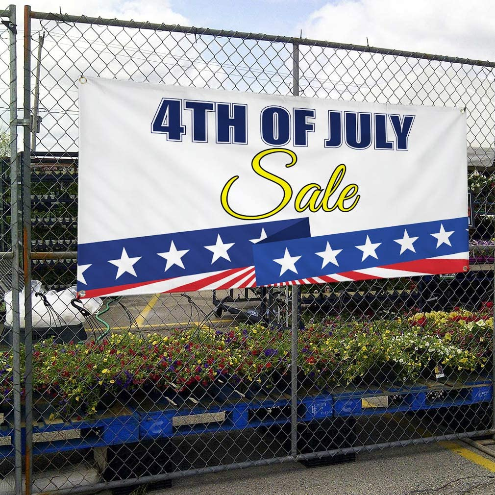 Vinyl Banner Sign 4Th of July Sale Business American Flag Marketing Advertising Blue Multiple Sizes Available 6 Grommets Set of 2 32inx80in
