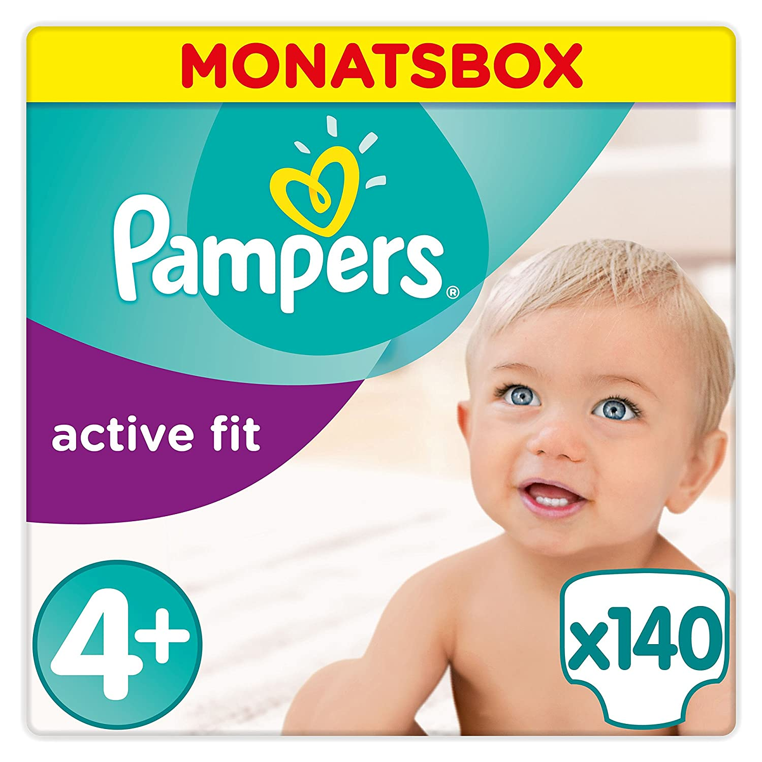 Pampers Active Fit Windeln, Gr.4+, Maxi Plus 9-18kg, Monatsbox, 1er Pack (1 x 140 Stück) 81395086 B00AF9R36U