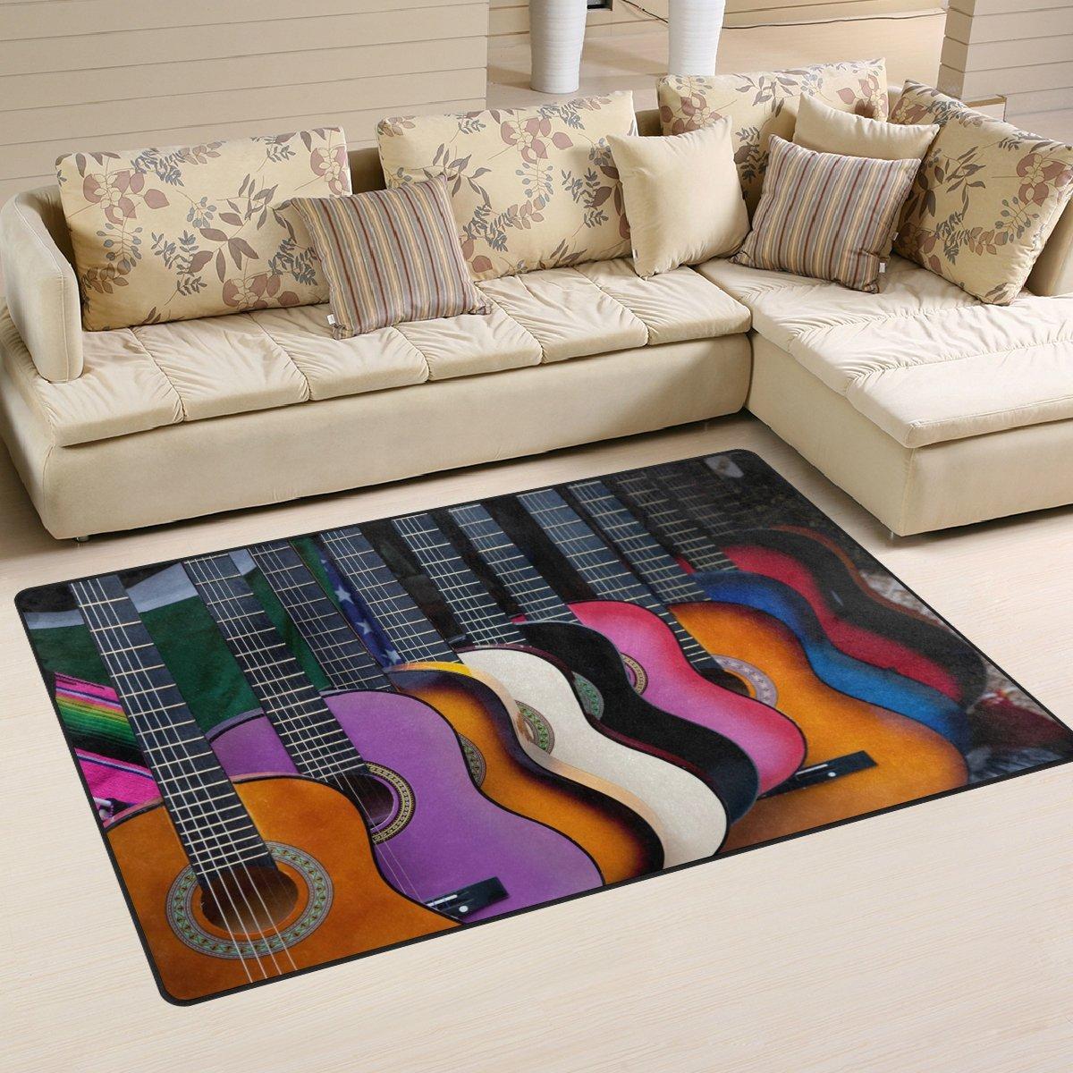 Naanle Music Theme tappeto antiscivolo per per camera da letto, soggiorno, cucina 50x 80cm (1.7'x 2.6' ft), Guitar nursery tappeto pavimento tappetino yoga, Multi, 50 x 80 cm(1.7' x 2.6')