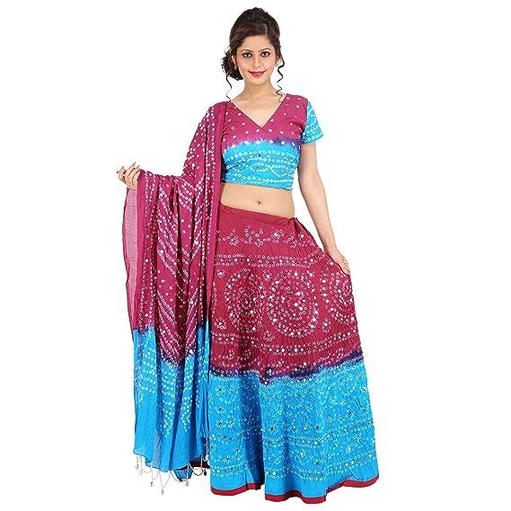 cfbdb4af56 Sunshine Ecommerce Beautiful Multicolorcolor Cotton Handmade Bhandej & Sequin  Work Lehenga Choli: Amazon.in: Clothing & Accessories