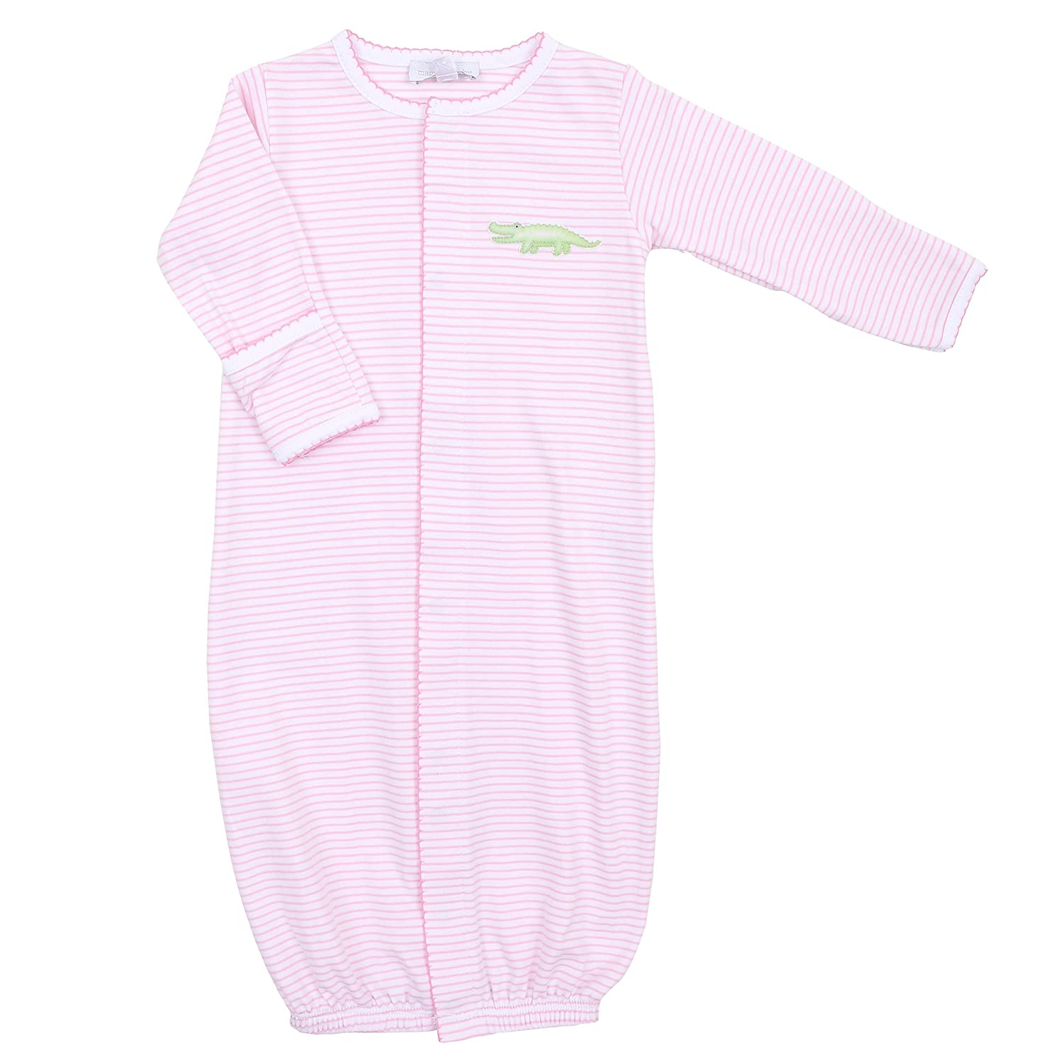 Magnolia Baby Baby Girl Later Gator Embroidered Converter Gown Pink