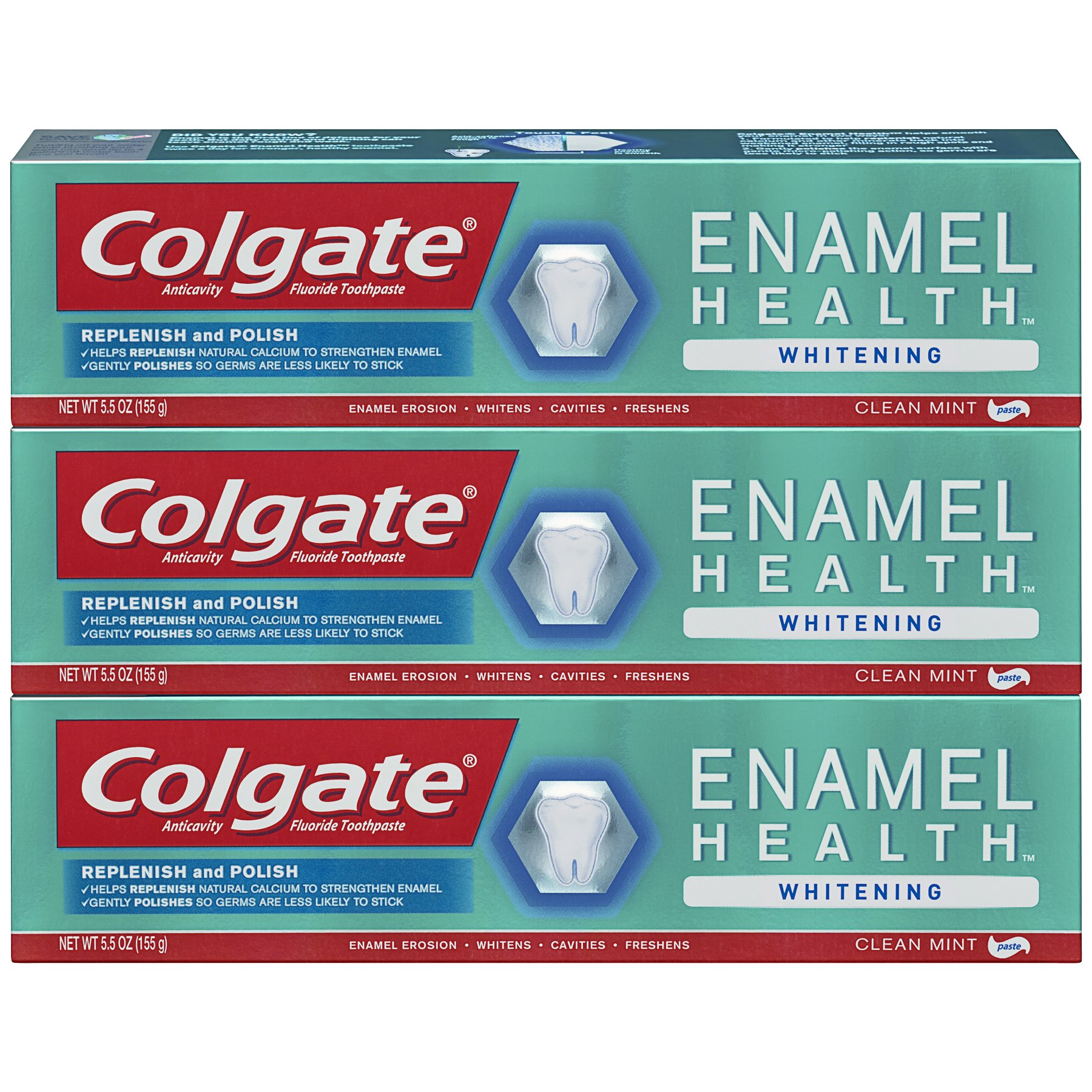 Colgate Enamel Health Whitening Toothpaste - 5.5 ounce (3 Pack)
