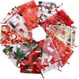 """TEXPLUS 20Pcs Assorted Color Christmas Party Favor Gift Bags with Drawstring (Christmas Organza Bags, 4""""Wx6""""L)"""