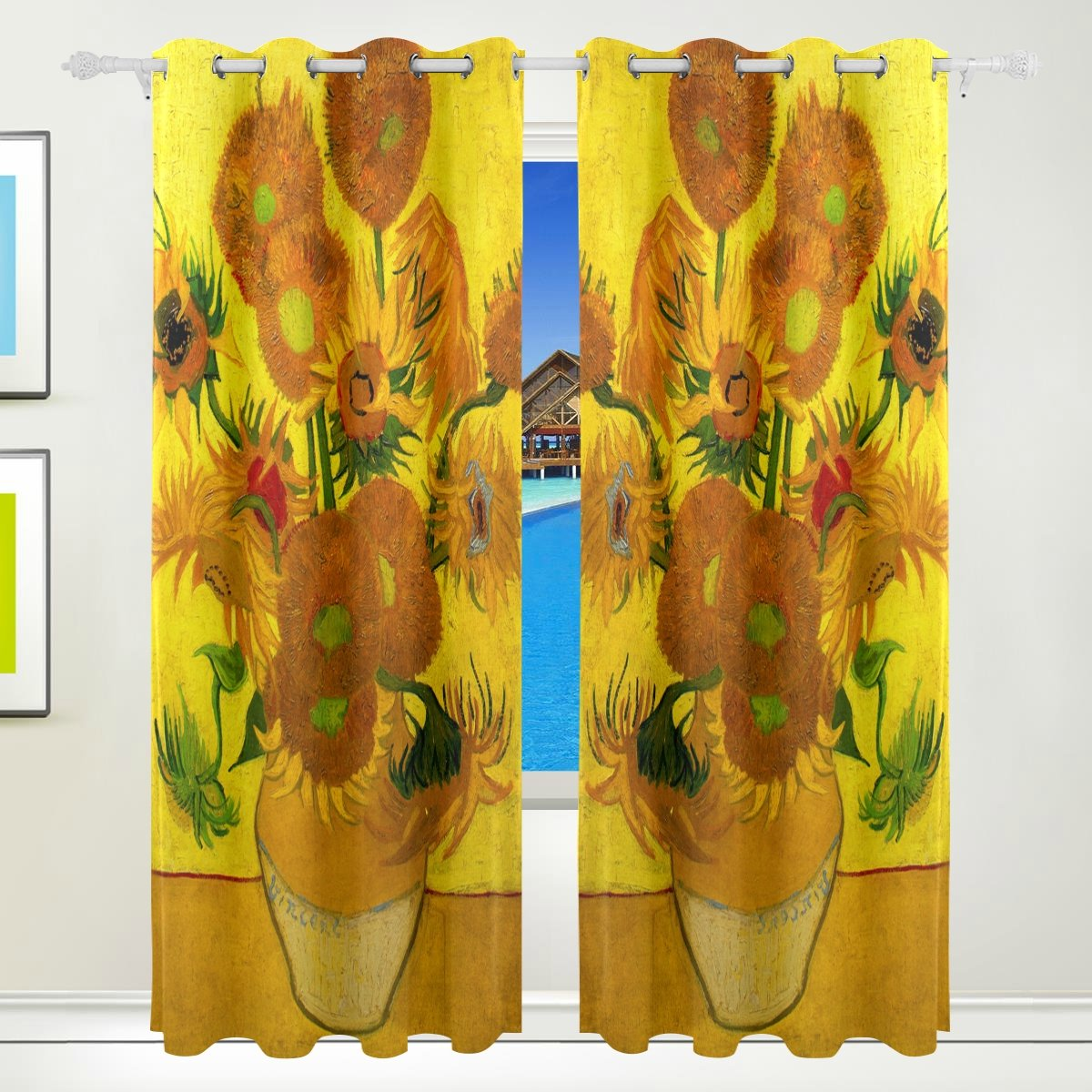 CUMIMI Van Gogh Oil Painting Sunflower Thermal Insulated Blackout Room Darkening Window Curtains for Bedroom Living Room 55 W x 84 L,2 Panels