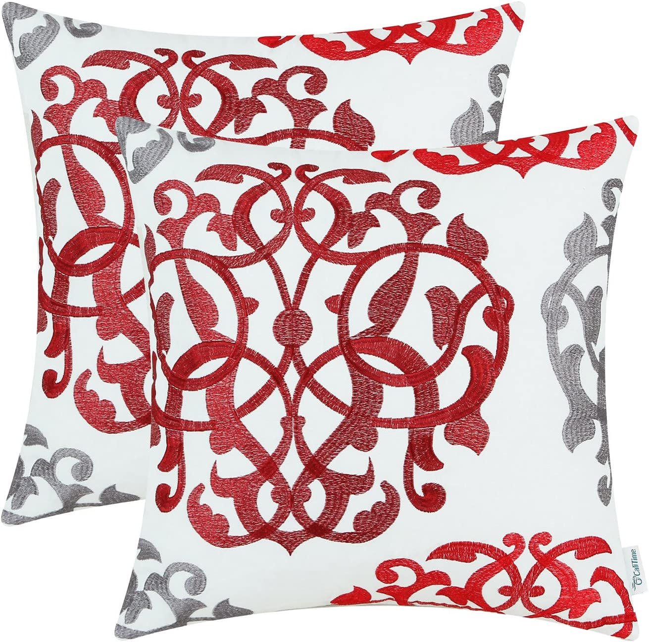 CaliTime Pack of 2 Cotton Throw Pillow Cases Covers for Bed Couch Sofa Vintage Compass Geometric Floral Embroidered 20 X 20 Inches Red Gray