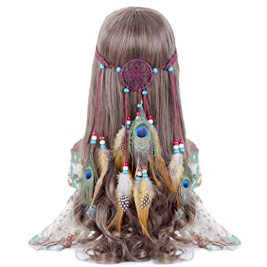 918b6cd4e1e8cd AWAYTR Feder Stirnband Traum Fänger Hohl - Hippie Boho Pfau Fasan Gefieder  Perlen Einstellbar Kopfschmuck (