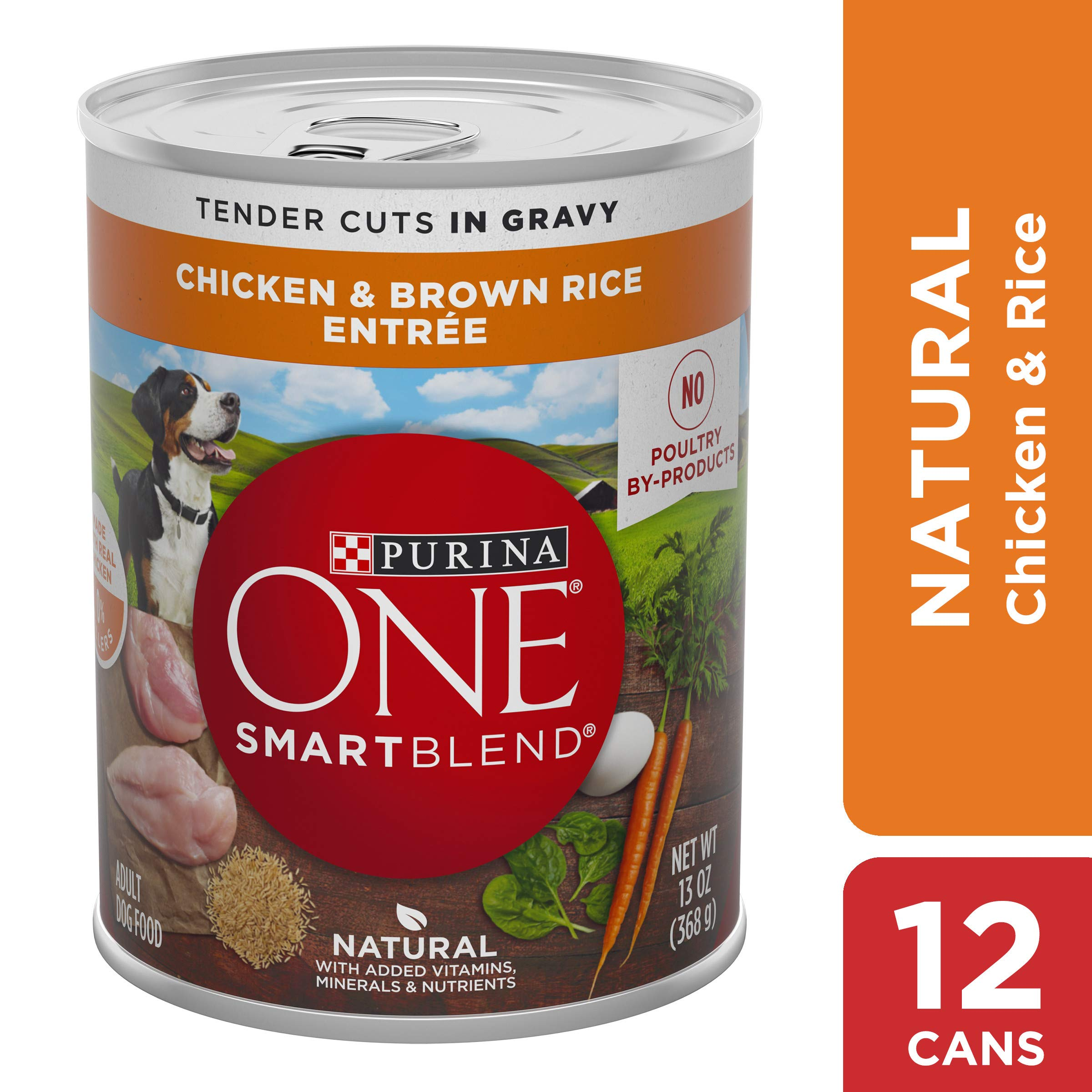 Purina ONE Natural, High Protein Gravy Wet Dog Food, SmartBlend Tender Cuts Chicken & Brown Rice - (12) 13 oz. Cans by Purina ONE