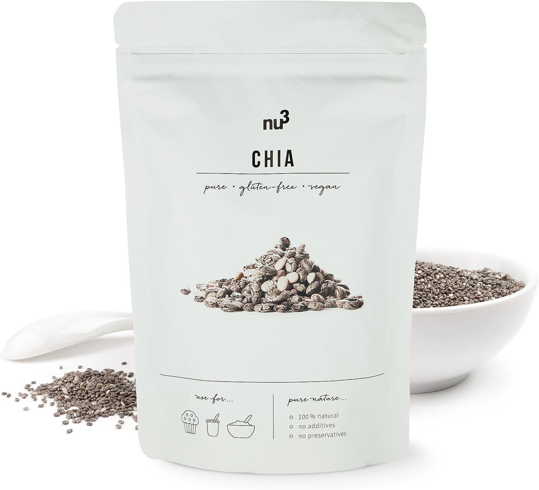 nu3 Semillas de Chia Premium - 300 g Con ácidos grasos omega-3, fibra y proteína - Superfood para cada día - Para cocinar y hornear - Complemento perfecto en dietas bajas en