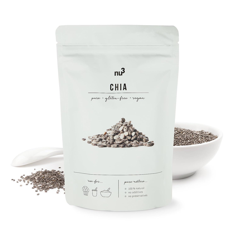 nu3 Semillas de Chia Premium | 300 g | Con ácidos grasos omega-3, fibra y proteína | SUPERFOOD para cada día | Para cocinar y hornear | Complemento perfecto ...