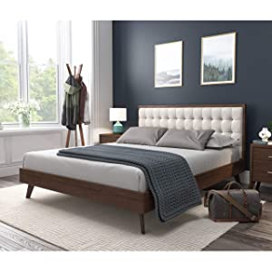 DG Casa 12050-Q-BGE Soloman Mid Century Modern Tufted Upholstered Platform Bed Frame, Queen Size in Beige Fabric